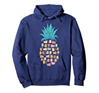 Summer Hawaii Pineapple Cat Kawaii Neko Aloha Hawaiian Shirts Hoodie Navy