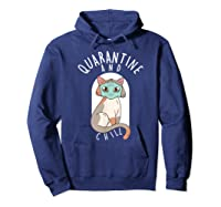 Quarantine And Chill Cat Face Mask T-shirt Hoodie Navy
