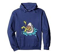 Shark Eats Zombie Funny Halloween Girls Shirts Hoodie Navy