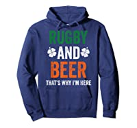 Rugby And Beer Funny Alcohol Outs For St Patricks Day T-shirt Hoodie Navy
