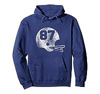 Vintage Football Number 87 T-shirt Player Number Hoodie Navy