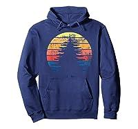 Retro Sun Minimalist Pine Tree Design Graphic Gift T-shirt Hoodie Navy