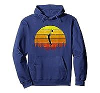 Basketball Coach Jump Shot Retro Vintage Sunset Shirts Hoodie Navy