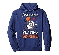 Basketball Panda Premium T-shirt Hoodie Navy