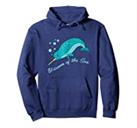 Narwhal Unicorn Of The Sea Fun Cute Shirts Hoodie Navy