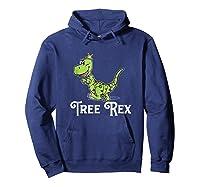 Tree Rex Funny Dino Christmas Lights Shirts Hoodie Navy