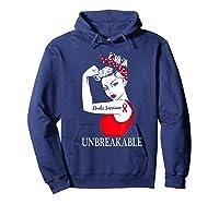Stroke Survivor Unbreakable Strong Shirts Hoodie Navy