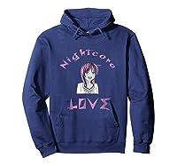 Nightcore Love Music Japanese Anime Purple Hair Shirts Hoodie Navy