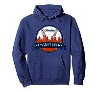 Vintage Retro Houston City Skyline Baseball Tshirt Hoodie Navy
