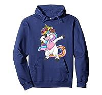 Dabbing Unicorn Shirt Flower Girl Dab Dance Horse Gift Premium T-shirt Hoodie Navy