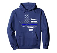 Texas Back The Blue Support Thin Blue Line Shirts Hoodie Navy