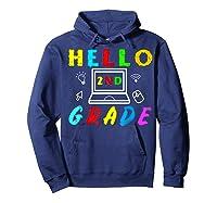 Hello 2nd Grade Tea Back To School Online Teaching T-shirt Hoodie Navy