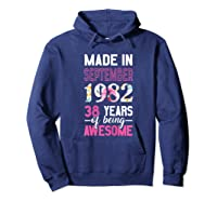 Made In September 1982 38th Birthday September Girl Shirts Hoodie Navy