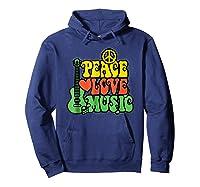 Peace Love Music Reggae Guitar T-shirt For Everyone Hoodie Navy