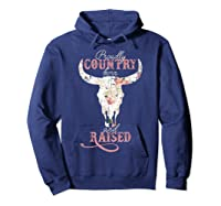 Proudly Country Born And Raised Cow Skull Shirts Hoodie Navy