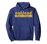 Oakland Retro Three Stripe Weathered Green T-shirt Hoodie Navy