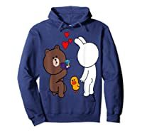 Brown Bear Cony Bunny Rabbit Engaget Ring Marriage Fiance Shirts Hoodie Navy