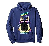 Vaporwave 80's Style Pet Dog Boop That Snoot German Shepherd Shirts Hoodie Navy