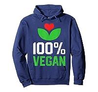 Proud 100 Vegan Vegetarian Vegetables Plant Lover Heart Shirts Hoodie Navy