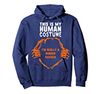 This Is My Human Costume I'm Rubber Chicken Halloween Shirts Hoodie Navy