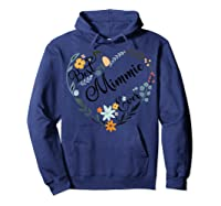 Best Mimmie Ever Heart Flower Blessed Grandma Mother's Day Shirts Hoodie Navy
