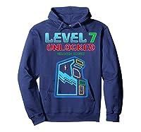 Level 7 Unlocked Birthday Gamer And Girls T-shirt Hoodie Navy