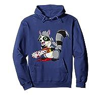 Spooky Halloween Costume Trash Panda Bloody Chainsaw Raccoon Shirts Hoodie Navy