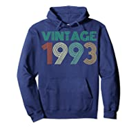26th Birthday Gift Idea Vintage 1993 T-shirt Distressed Hoodie Navy