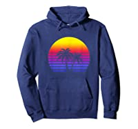 Synthwave Sun Palm Tree 80s Retrowave Aesthetic Outrun Shirts Hoodie Navy