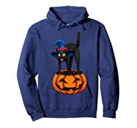 Witch Black Cat Funny Halloween Horror Scary Shirts Hoodie Navy