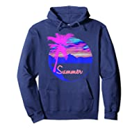 Vaporwave Aesthetic Summer Beach Sunset Palm T-shirt Hoodie Navy