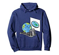 Flat Earth Workout Conspiracy Theory T-shirt Hoodie Navy