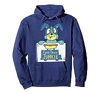 Food Truck Junkie Funny Cartoon Dog Shirts Hoodie Navy