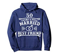50th Wedding Anniversary For Husbandwife Shirts Hoodie Navy