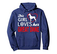 Cute This Girl Loves Her Great Dane Dog Lover T-shirt Hoodie Navy