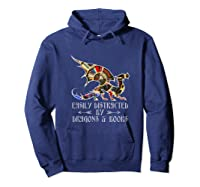 Easily Distracted By Dragons And Books Funny Dragon Shirts Hoodie Navy