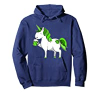 Lepricorn Unicorn St Patrick's Day With Green Clover Shirts Hoodie Navy