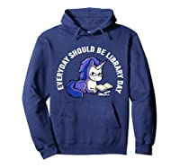 Cute Unicorn Reading Book Librarian Lover Library 2019 Shirt Hoodie Navy
