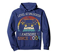 Vintage Video Level 16 Unlocked Gamers 16th Birthday Gifts Shirts Hoodie Navy