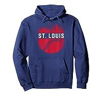 Vintage Downtown St. Louis Missouri Skyline Baseball T-shirt Hoodie Navy