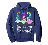 Gnoming Around 3 Hippie Gnomes Tie Dye Hat Retro Peace T-shirt Hoodie Navy