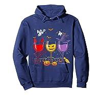 Pumpkin Halloween Wine Glasses Funny Shirts Hoodie Navy