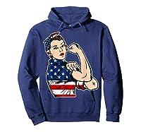 Rosie The Riveter Bandana Feminist Usa Flag 4th Of July T-shirt Hoodie Navy