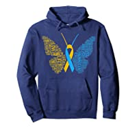 Down Syndrome Awareness Butterfly T-shirt Support Gift Shirt Hoodie Navy