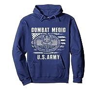 Combat Medic Us Army Flag America 4th July Shirts Hoodie Navy