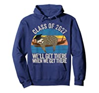 Distressed 5th Grade Class Of 2027 Sloth Grow With Me T-shirt Hoodie Navy