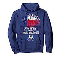 Texas Home Louisiana Roots State Tree Flag Shirt Love Gift Hoodie Navy