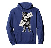 Bear Hug I Love California Art Retro Vintage Cali Bear Shirts Hoodie Navy