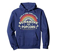 Popcorn Shirt. Just A Girl Who Loves Sunshine And Popcorn T-shirt Hoodie Navy