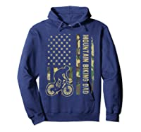 Mountain Biking Dad Camouflage American Flag Fathers Day Shirts Hoodie Navy